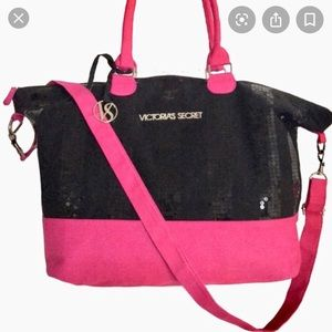 NWOT Victoria's Secret Black Sequin and Pink Bag
